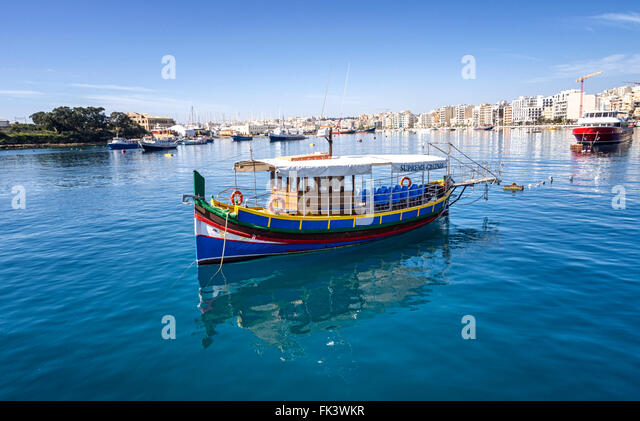 Marsamxett Harbour towards Sliema, Malta, from the Valletta ferry - Stock Image
