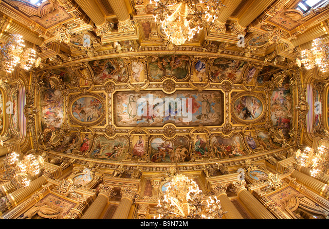 France, Paris, Garnier Opera house, the vault of the main foyer - Stock Image