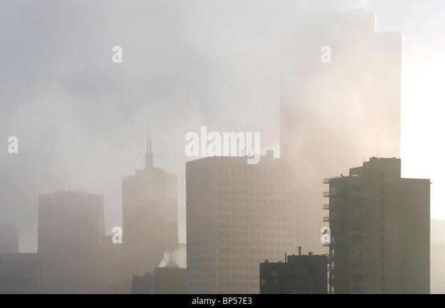 San Francsico Office blocks in fog - Stock-Bilder