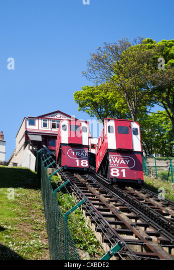 Cliff Tramway at Foreshore Road, Scarborough, North Yorkshire, Yorkshire, England, United Kingdom, Europe - Stock Image