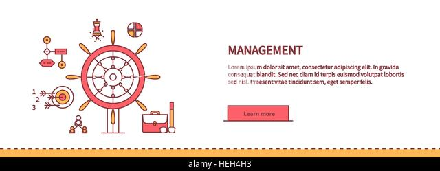 Icons for management, business tools in flat design. Poster banner on white. Management and marketing, lead and - Stock-Bilder