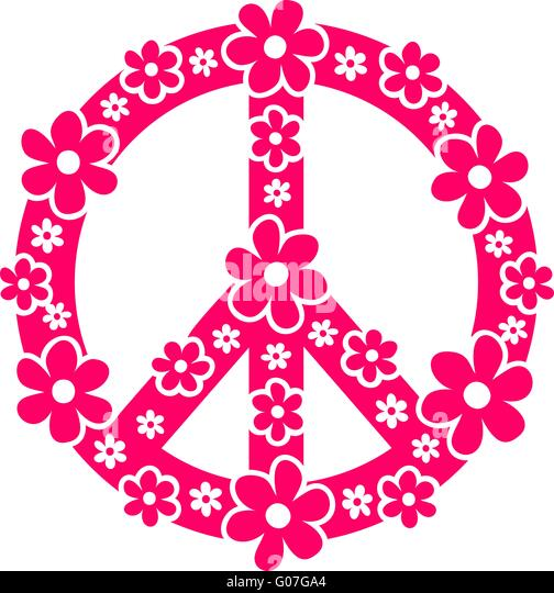 Peace sign - flower power - Stock Image