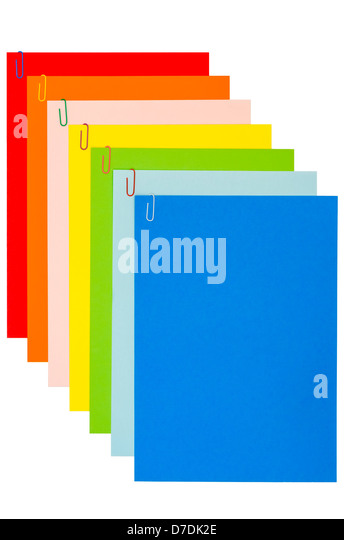 Rainbow Stationery With Paper-Clips 04 - Stock Image