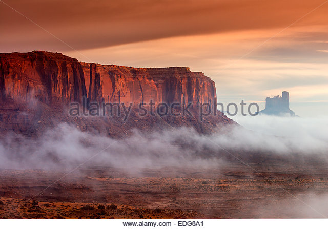 Sunrise view over the Monument Valley, Arizona, USA - Stock Image