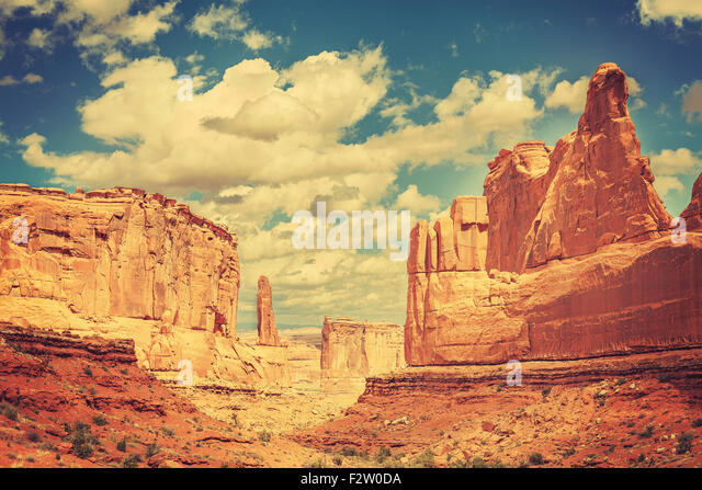Old postcard from Wild West, retro toned photo of Arches National Park, Utah, USA. - Stock-Bilder