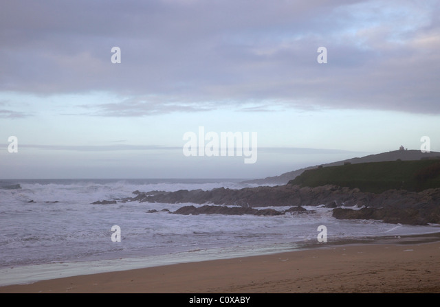 Winter surf, Fistral Beach, Newquay, Cornwall, South West England, UK, United Kingdom, GB, Great Britain, British - Stock Image