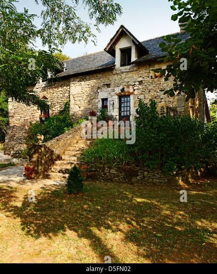 Traditional stone house, near La Rouquette, Aveyron, France - Stock Image