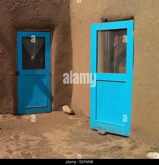 Taos Pueblo doors - Stock Image
