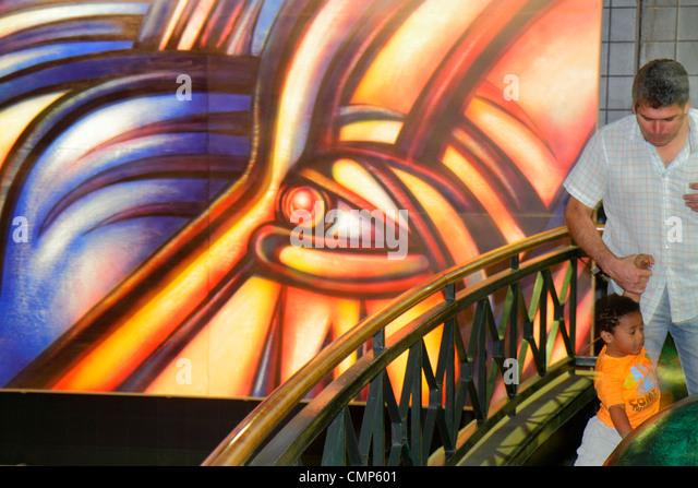 Chile Santiago Providencia Metro Station Parque Bustamante subway public transportation rapid transit mural artist - Stock Image