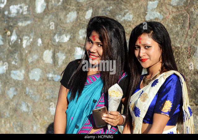 Beautiful Assamese girls in Guwahati, Assam. - Stock Image