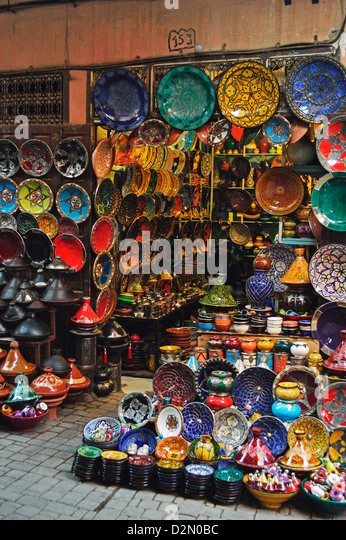 Display of merchandise, The Souks, Medina, Marrakesh, Morocco, North Africa, Africa - Stock Image