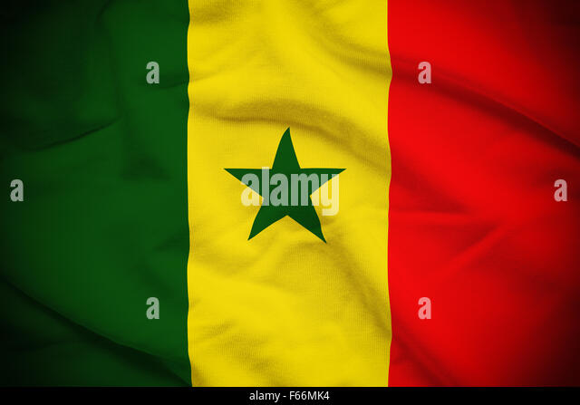Wavy and rippled national flag of Senegal background. - Stock Image