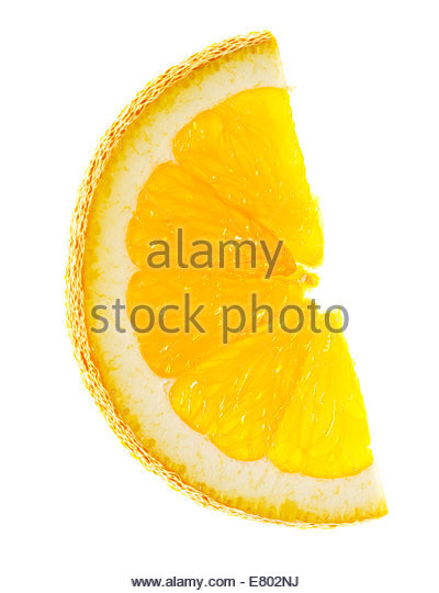 Slices of orange tangerine over white - Stock Image