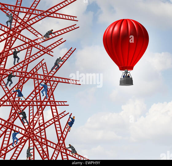 New strategy and independent thinker symbol and new innovative thinking leadership concept or individuality as a - Stock Image
