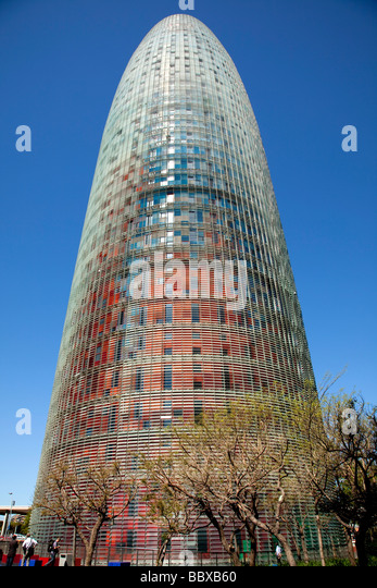 The Torre Agbar modern office building, Barcelona Spain - Stock Image