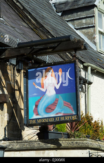The Mermaid Pub sign. Burford. Cotswolds, England - Stock Image