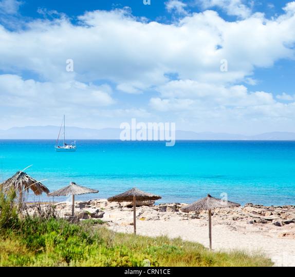 Balearic Formentera island in Escalo beach mediterranean turquoise sea - Stock Image