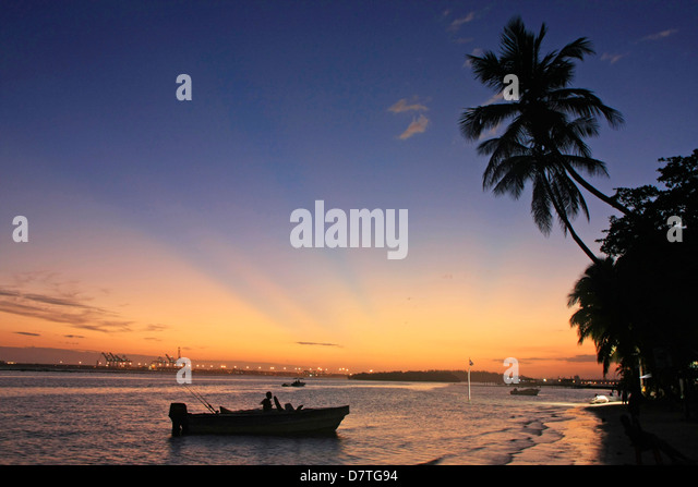 Boca Chica beach at sunset, Dominican Republic - Stock Image