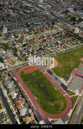 Athletics track and football field, Hawthorne, Los Angeles, California, USA - aerial - Stock Image