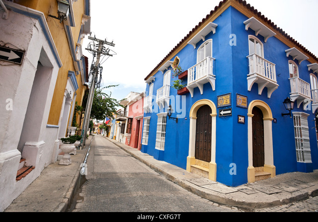 Street scene in Cartagena de Indias, Colombia. - Stock Image