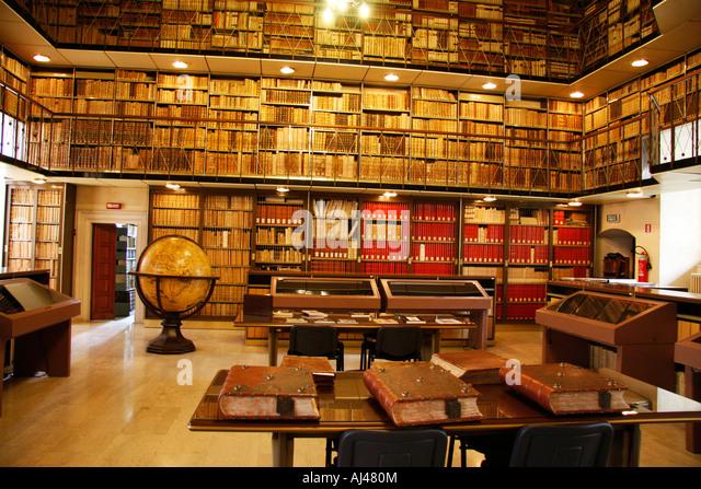 Interior, 'Biblioteca Planettiana', Jesi,library, Interior, 'Biblioteca Planettiana', Jesi,library, - Stock Image