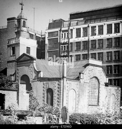 WW2 Bomb Damage - Church of St Anne and St Agnes Gresham Street London in July 1946 - Stock Image