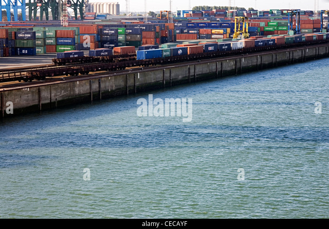 Container Handling at the Port of Zeebrugge - Stock Image