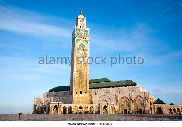 Africa african Casablanca Corniche exterior Hassan II Mosque islam Michel Pinseau minaret moroccan Morocco muslim - Stock Image