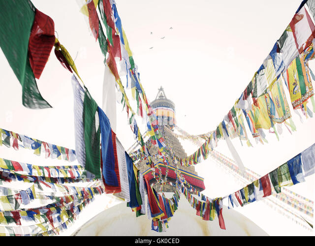 Prayer flags at the Boudhanath Temple in Kathmandu, Nepal. - Stock Image