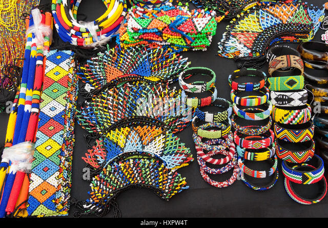 Souvenir beaded jewellery on stall, Bethlehem, Free State Province, Republic of South Africa - Stock Image
