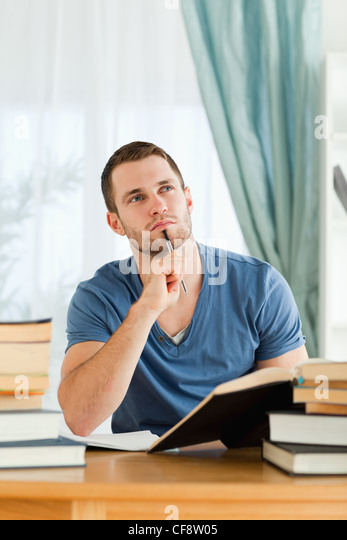 Student thinking about subject material - Stock Image