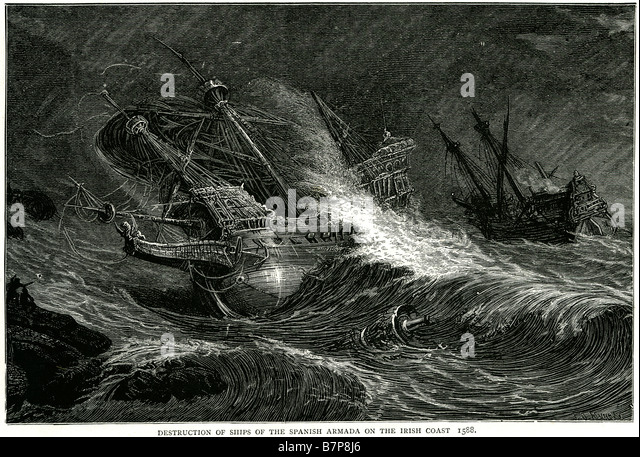 Destruction ships spanish armada irish coast 1588 Invincible Navy Storm Battle ship Fleet sea Water Sailing Sail - Stock Image