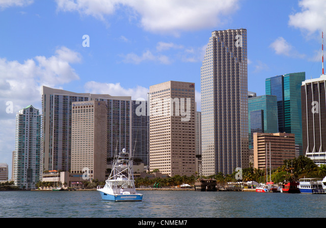 Miami Florida Biscayne Bay downtown skyline office buildings hotels boats water Southeast Financial Center centre - Stock Image