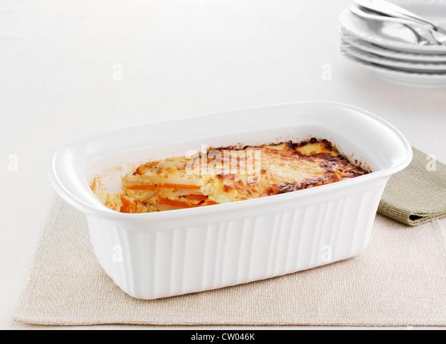 Dish of sweet potato bake - Stock Image