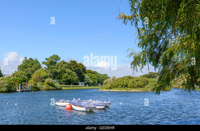 Small boating lake in a park in Summer at Mewsbrook Park, Littlehampton, West Sussex, England, UK. - Stock Image