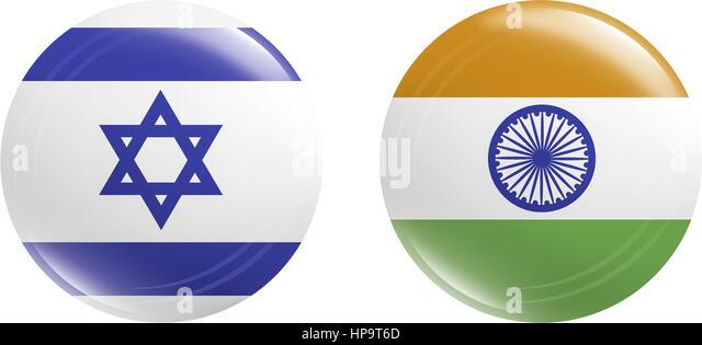 Buttons, Israel & Indien - Stock-Bilder