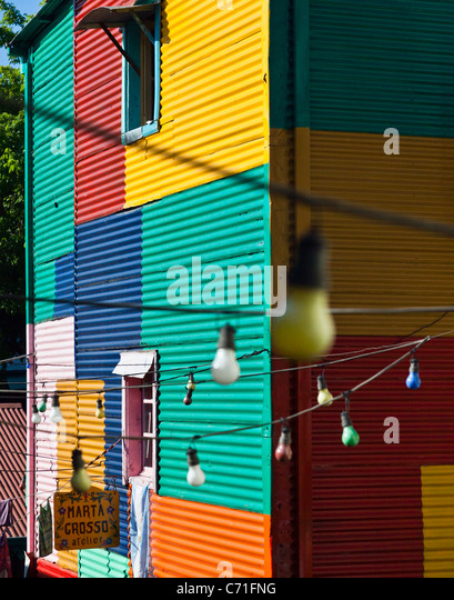 Colorful painted walls in the La Boca district of Buenos Aires, Argentina - Stock Image