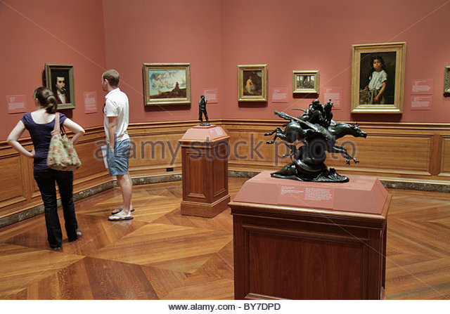 Baltimore Maryland Baltimore Museum of Art Wyman Park gallery exhibition collection painting sculpture pedestal - Stock Image