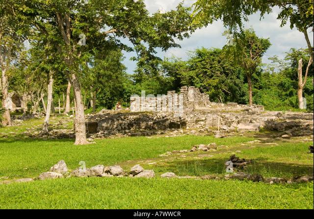 Cozumel Mexico San Gervasio maya ruins - Stock Image