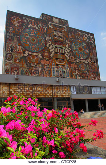 Mexico Mexico City DF D.F. Ciudad de México Federal District Distrito Federal Ciudad Universitaria UNAM Biblioteca - Stock Image