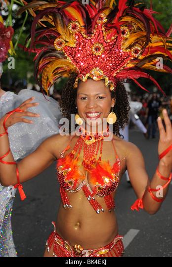 Brazilian Samba dancer at the Karneval der Kulturen, Carnival of Cultures, Berlin, Kreuzberg district, Germany, - Stock-Bilder