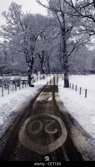 Twenty Speed Limit Sign Lamington Scotland in the Snow Winter - Stock Image