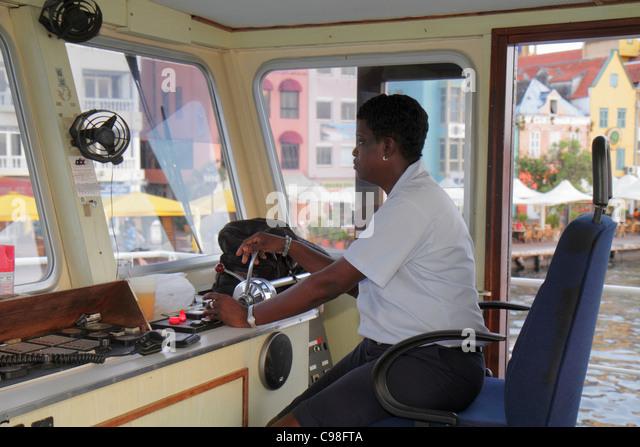 Curaçao Netherlands Antilles Dutch Willemstad Otrobanda Punda St. Saint Sint Anna Bay free ferry boat transportation - Stock Image