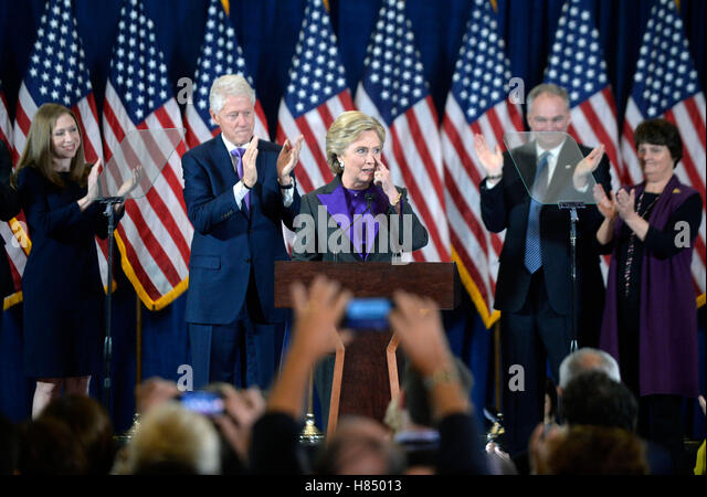 Democratic Presidential candidate Hillary Clinton delivers her concession speech Wednesday, from the New Yorker - Stock Image