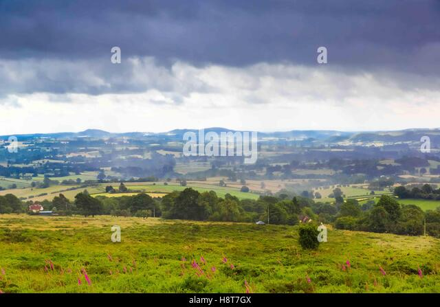 A storm brewing on the Clee Hills in Shropshire, England, UK - Stock Image