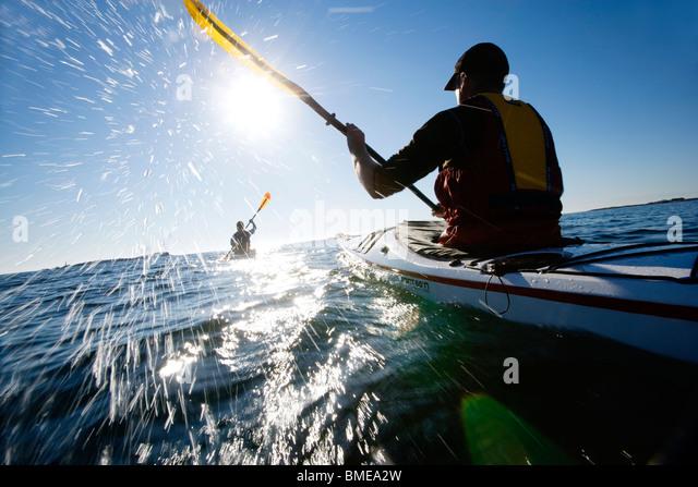 People kayaking, Sweden. - Stock-Bilder