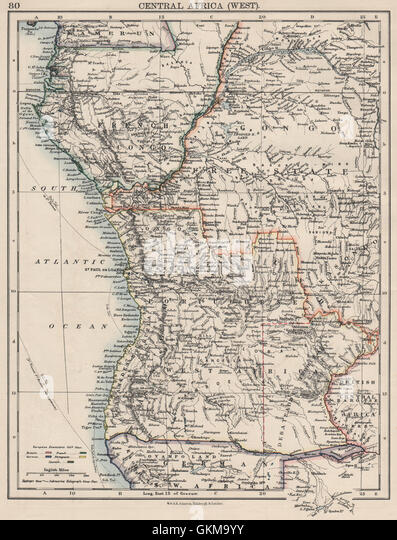 COLONIAL CENTRAL AFRICA. French Congo Free State Portuguese West Af. , 1900 map - Stock-Bilder