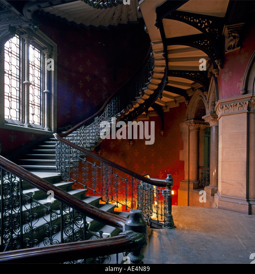 Grand Victorian gothic staircase inside St Pancras Chambers London NW1 England  - Stock Image