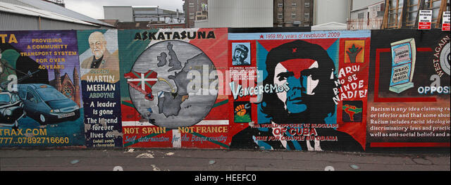Belfast Falls Rd Republican Peace Wall Mural - Stock Image