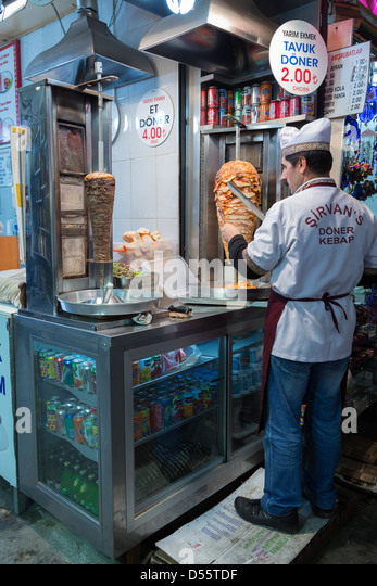 Cutting parts from doner kebap, Istanbul, Turkey - Stock Image